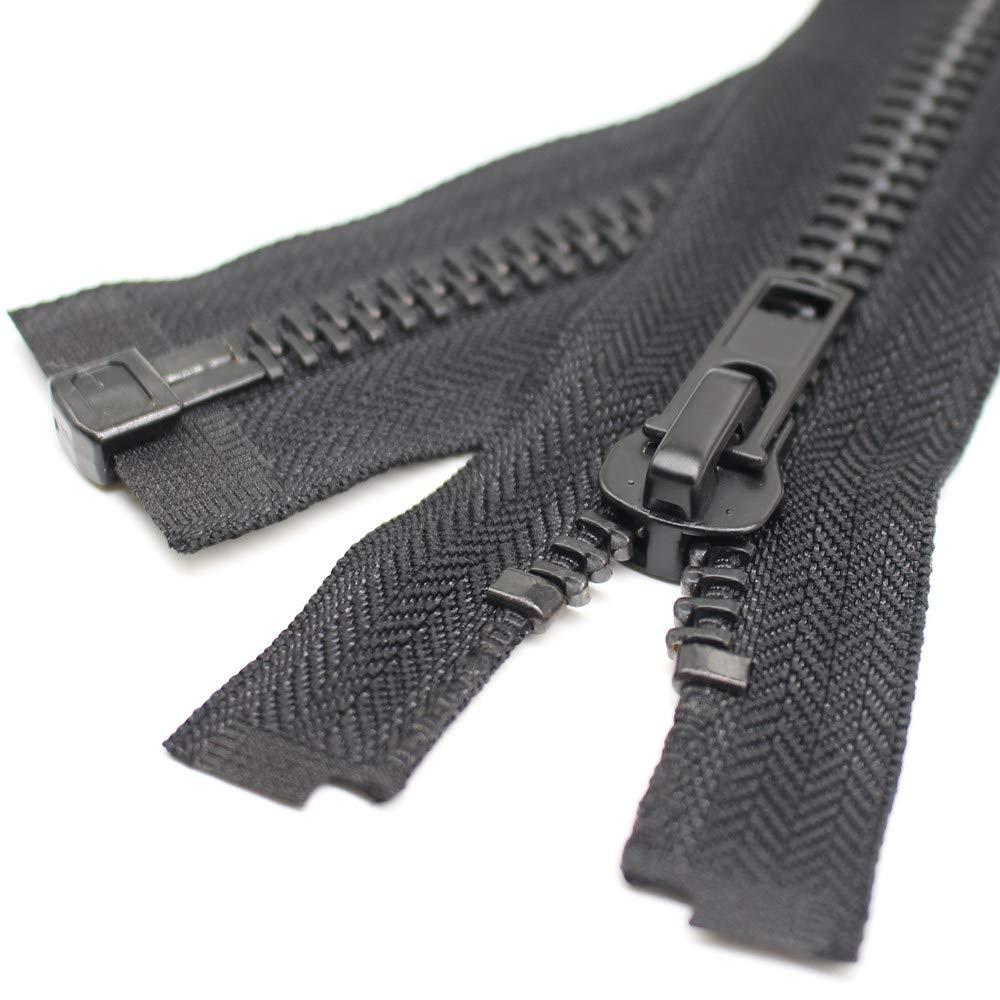 80 cm YaHoGa 80 cm Grand Fermetures /éclair M/étal S/éparable Noir #10 Laiton Fermeture /Éclair M/étallique A Zipper Glissi/ère pour Les Jackets