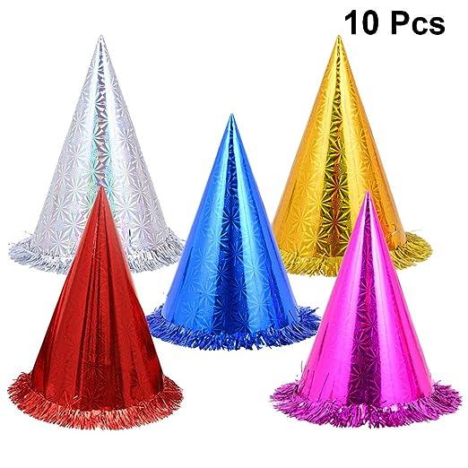 TOYANDONA 10pcs sombreros de cono de fiesta de cumpleaños gorra de cumpleaños de encaje de triángulo multicolor sombrero de cono de fiesta para niños ...