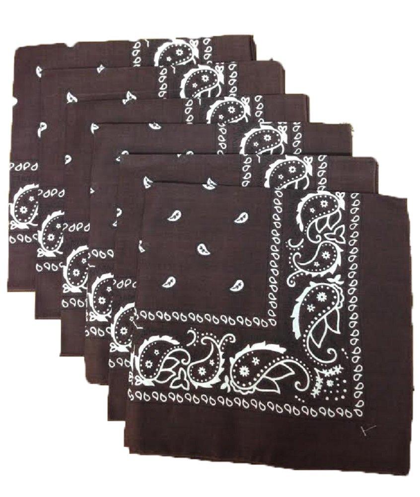 6 Color Pack Paisley Bandana Scarf, Head Wraps BLACK