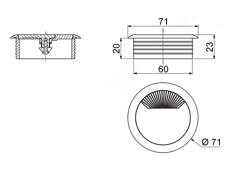 5 x SO-TECH/® Passe-C/âbles Passage de C/âble Blanc Diam/ètre 60 mm