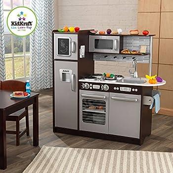 KidKraft Uptown Espresso Kitchen with 30 Piece Play Food Set
