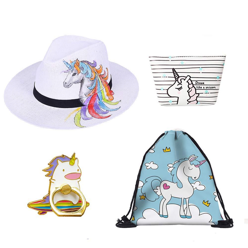 Filles Unicorn Gifts Prizes Pack, 4pcs / set Unicorn Birthday Choice Inclure de licorne Weave Beach Hat, licorne sac de maquillage, Licorne Drawstring sac à dos, Licorne Anneau titulaire de téléphone, Meilleur pour la licorne Fournitures de fête Faveurs de