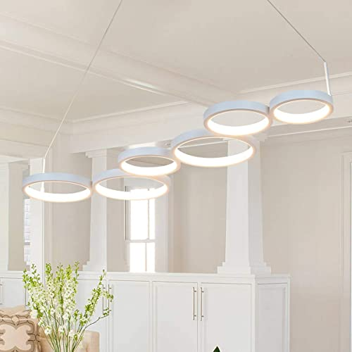 Helych Modern Chandelier LED 6 Rings Contemporary Pendant Light Adjustable Not Dimmable Pendant Lighting Fixture