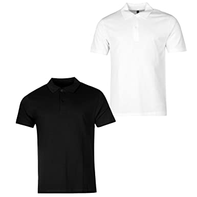 f62b920110a Donnay Two Pack Polo Shirt Mens White Black Collared T-Shirt Top Tee  Sportswear