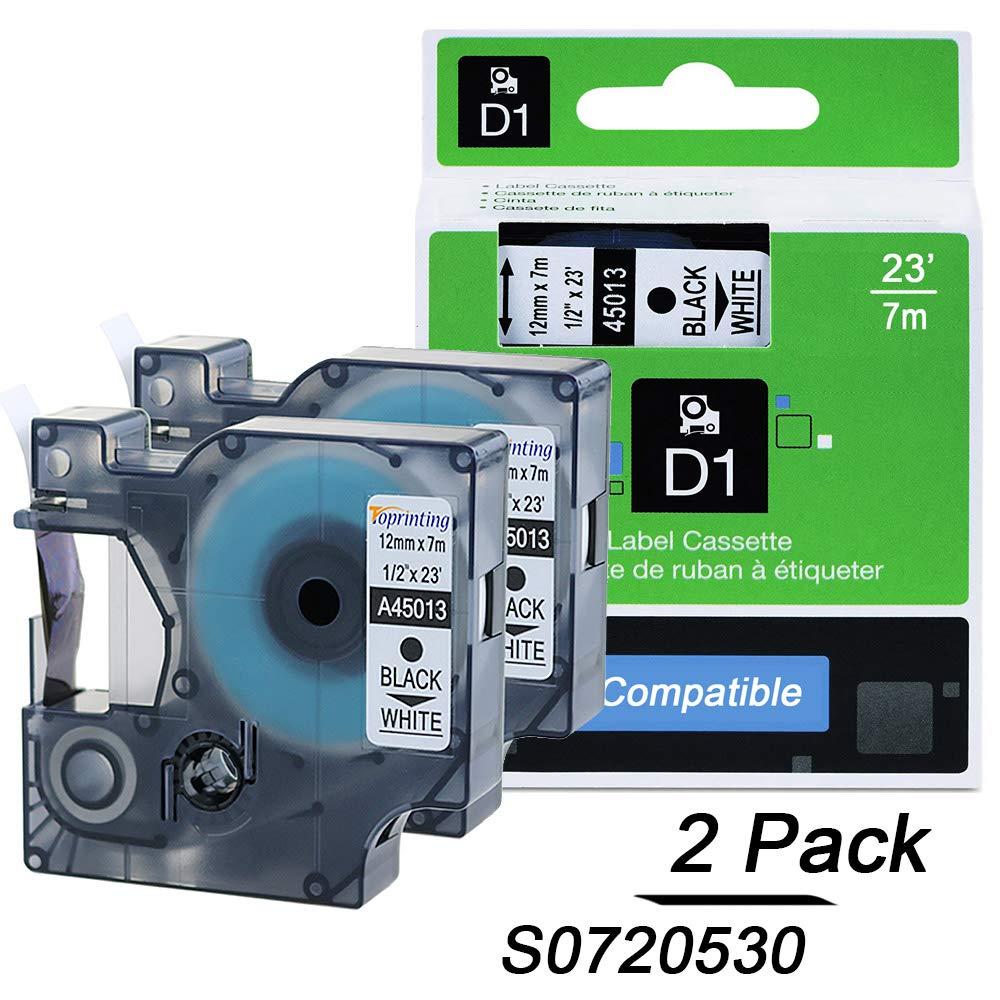 Dymo D1 12mm s0720530 45013 Schriftband Schwarz auf Weiß Etiketten für DYMO Labelmanager 280 160 450d Labelpoint 150 and more 3 pack Toprinting