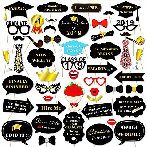 Class of 2019 Graduation Ceremony Party 50PC Photo Props Paper Photo Frame Graduation Party Dress Up Supplies take the pic with your Buddy one more time ()