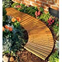 Plow & Hearth 52128 Roll Out Wooden Curved Garden Pathway