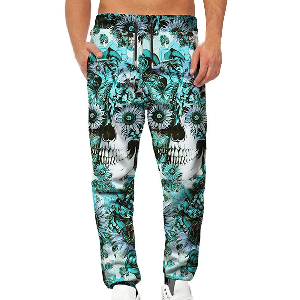 Spbamboo Mens Pants Relaxed Fit Skull 3D Printed Pocket Work Casual Trousers