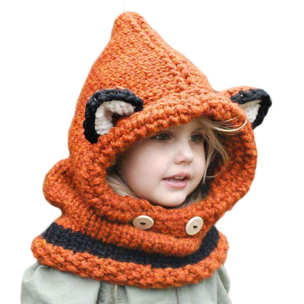 963bf4d3e3d Azornic Baby Girls Boys Winter Hat Scarf Earflap Hood Scarves Caps for 2-8  Years Kids