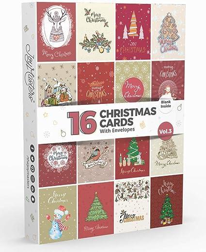 Joy Masters - 16 Caja de Tarjetas de Navidad Variados con Sobres - Vol. 3: Amazon.es: Oficina y papelería