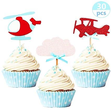 30 piezas JeVenis purpurina nube y avión cupcakes adornos ...