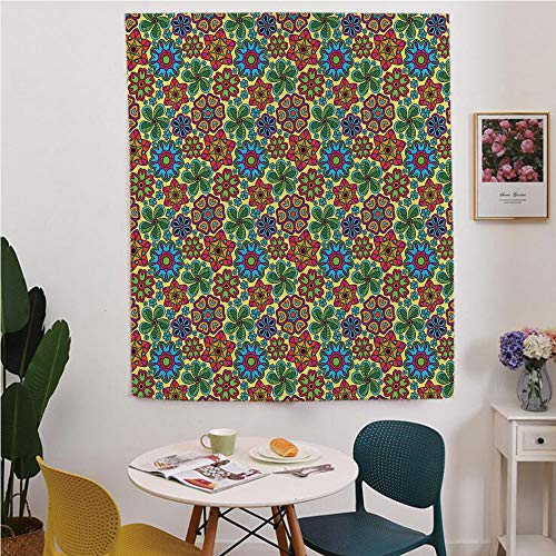 (Ethnic Blackout Window curtain,Free Punching Magic Stickers Curtain,All Garden Inspired Floral Shapes with Pale Yellow Backdrop Festive Artwork Print Decorative,for Living Room,study, kitchen, dormito)