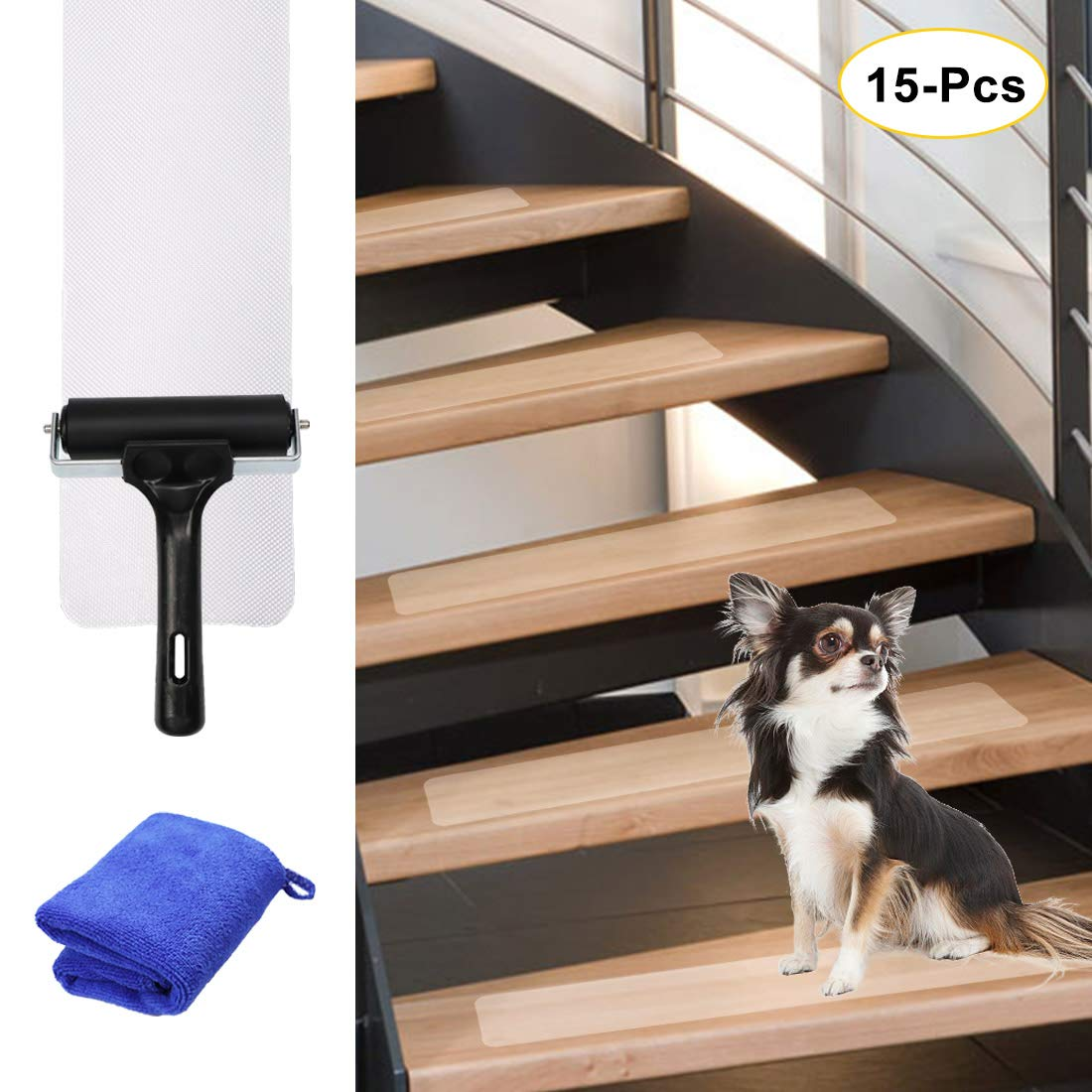 Non-Slip Stair Treads Tape Clear (15-Pack), AUTOPkio 24''x4'' Anti Slip Pre-Cut Non-Skid Adhesive Grip Safety Strips with Installation Roller for Baby/Elder/Pet Indoor Outdoor Stairs