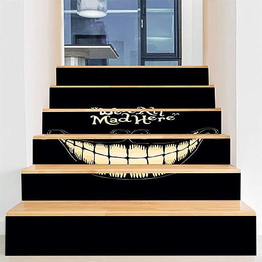 Decoraciones de Halloween casa embrujada diseño de escaleras horror ventana fantasma ventana puerta de vidrio pegatinas de pared pegatinas de escalera 100 cm * 18 cm 12: Amazon.es: Amazon.es