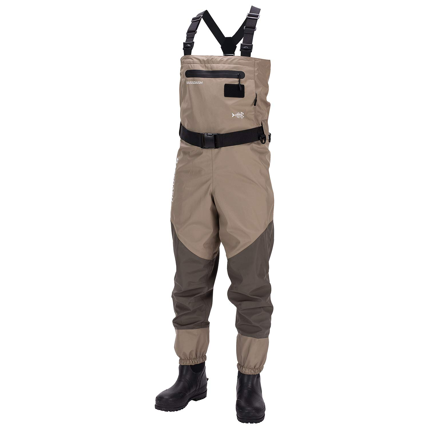 Bassdash Men s Breathable Lightweight Chest and Waist Convertible Waders for Fishing and Hunting, Stocking Foot and Boot Foot Waders Available in 7 Sizes