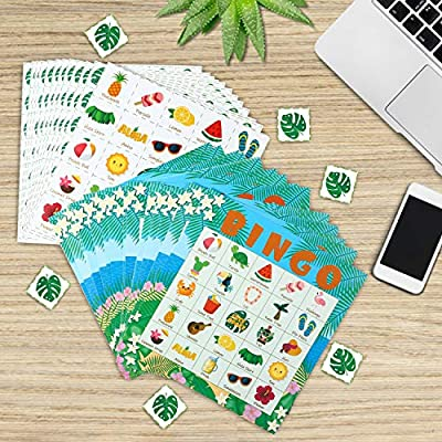 WATINC 41pcs Hawaiian Bingo Game, Tropical Summer Party Games with 24 Players, Hawaiian Bingo Cards for Kids School Classroom Party Supplies Activity, Luau Aloha Party Favors Gifts for Kids Toddlers: Toys & Games