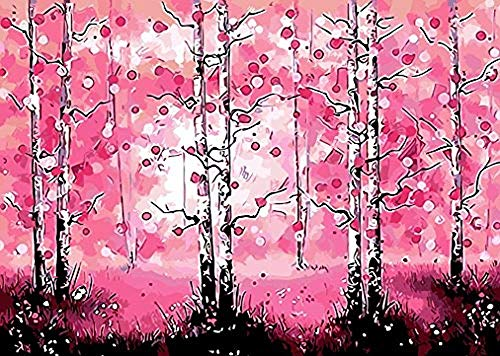 Paint by Number Kits - Pink Dream 16x20 Inch Linen Canvas Paintworks - Digital Oil Painting Canvas Kits for Adults Children Kids Decorations Gifts (No Frame)