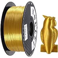 Noulei Shiny PLA 3D Printer Filament, Silk Gold, 1.75mm Printing Material, 1kg +/-0.02mm