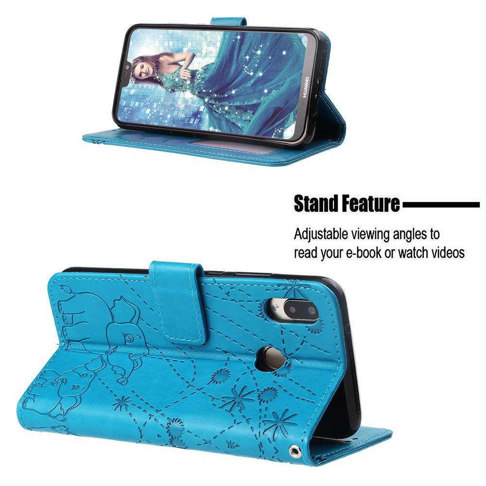 Nadoli H/ülle for Huawei P20 Lite,PU Ledertasche Pr/ägung Elefant Wallet Lederh/ülle mit Kartenfach Magnetischer Flip Handyh/ülle Bookstyle Cover f/ür Huawei P20 Lite-Rot