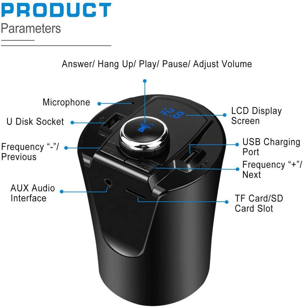 MP3 Car Charger with 2 USB Ports Audio Adapter and Receiver Hands-Free Calling Wireless Bluetooth FM Transmitter for Car Belloc 2019 Smart Charge