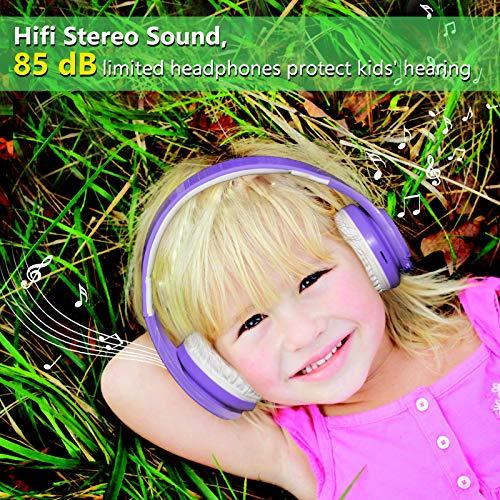 Kids Wireless Bluetooth Headphones Volume Limited 85db Stereo Sound Over-Ear Foldable Lightweight Children Headphones…