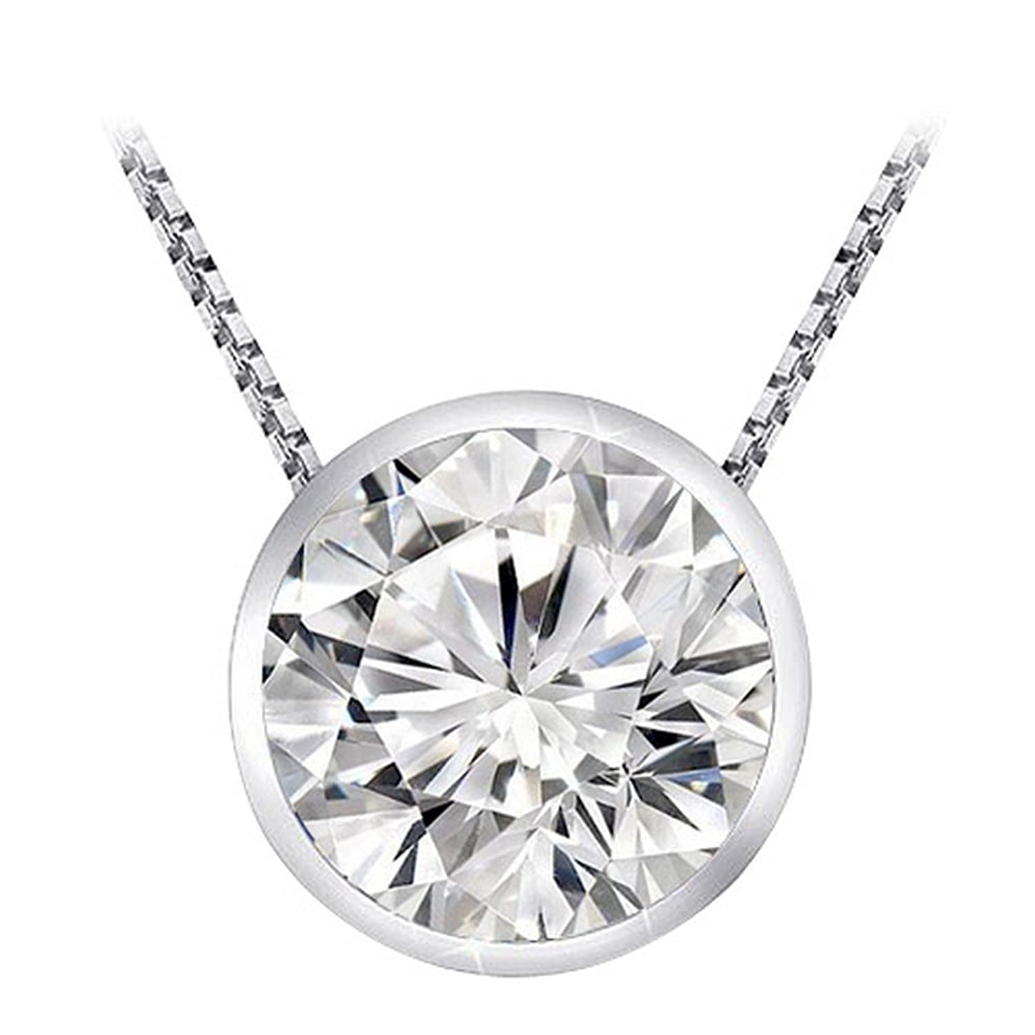 0.3 1/3 Carat 14K White Gold Round Diamond Solitaire Pendant Necklace Bezel I-J Color SI2-I1 Clarity