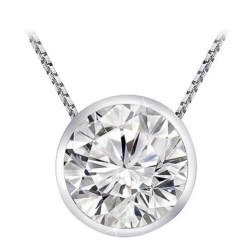 3/4 Carat 14K White Gold Round Diamond Solitaire Pendant Necklace Bezel I-J Color SI1-SI2 Clarity
