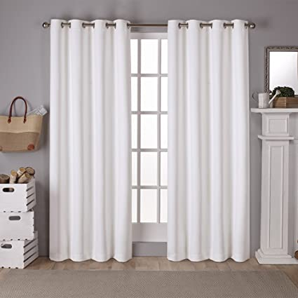 Exclusive Home Curtains Sateen Twill Weave Insulated Blackout Grommet Top Window Curtain Panel Pair Vanilla