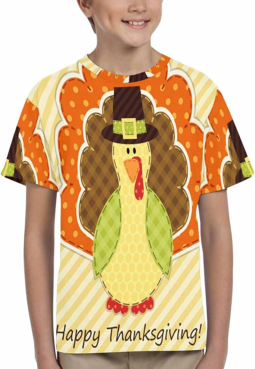 XS-XL INTERESTPRINT Kids T-Shirts Cute Thanksgiving Turkey