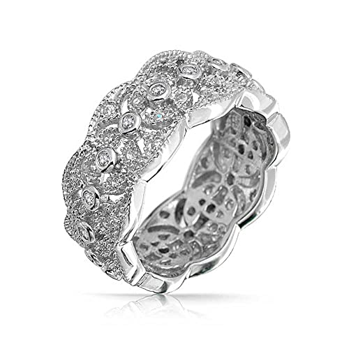Bling Jewelry Milgrain Style CZ Leaves Band Sterling Silver Ring S6q9Zt