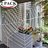 PeeNoke Halloween 2 Pack 11ft Mega Spider Web for Halloween Outdoor Decoration - 1 Black and 1 White by Spooktacular Creations