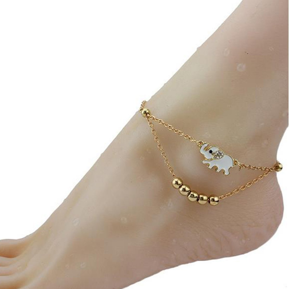 Freedi Women Cute Elephant Bead Anklet Animal Barefoot Sandal Beach Foot Jewelry Gift for Girls