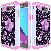 Galaxy J3 Emerge Case, Samsung J3 Prime / J3 Mission / J3 Eclipse / J3 Luna Pro / Sol 2 / Amp Prime 2 / Express Prime 2 Case, Turphevm Hybrid Shockproof Armor Case for Samsung J3 2017 (Pink Violet)