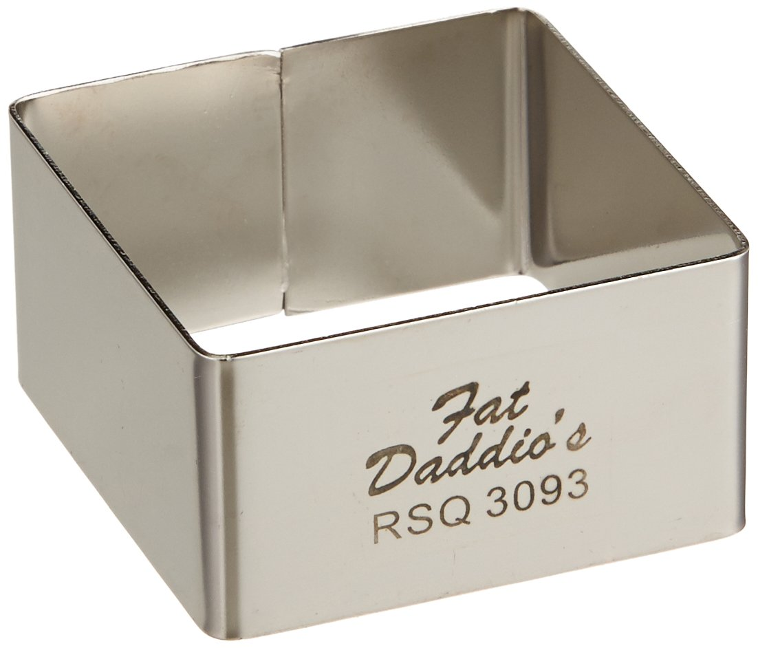Fat Daddio's Stainless Steel Square Cake and Pastry Ring, 2.125 Inch x 1.25 Inch Fat Daddio's RSQ-3093