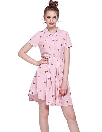 ef3c9be01c8 haoduoyi Women s Casual High Waist Strawberry Print Sweet Shirt Dress Pink S