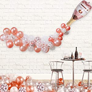 """Champagne Bottle Balloon Kit, 40"""" Champagne Wine Bottle Rose Gold Balloon and 70 PCS Assorted Balloons Garland Kit Balloon Arch Rose Gold Confetti Balloons for Wedding Birthday Bachelorette Bridal Shower Party Decorations"""