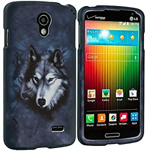 Accessory Planet(TM) Wolf 2D Hard Snap-On Design Rubberized Case Cover Accessory for LG Lucid 3 VS876