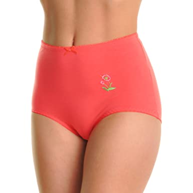 1f8935bf9d8 Angelina Cotton High Waist Briefs with Floral Embroidery (6-Pack),  GM0972P_US
