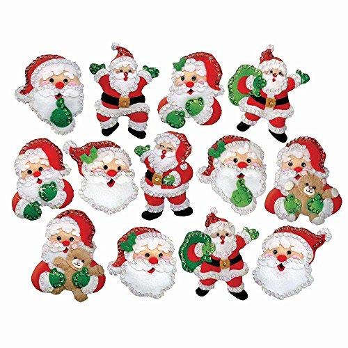 Design Works Santa Ornaments Felt & Sequin Kit -