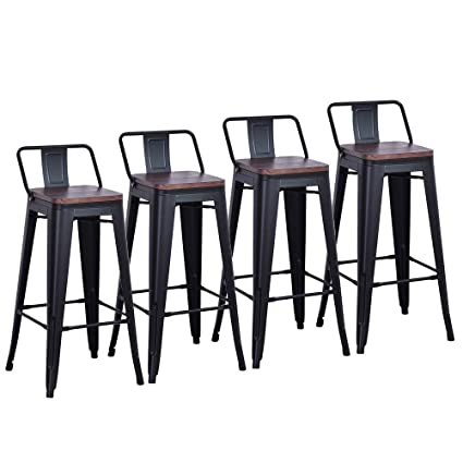 new style 3f57a 59353 DeKea 26 Inch Bar Stools with Wooden Top Counter Height Metal Stool [Set of  4] for Kitchen or Indoor/Outdoor Barstools, Low Back Black