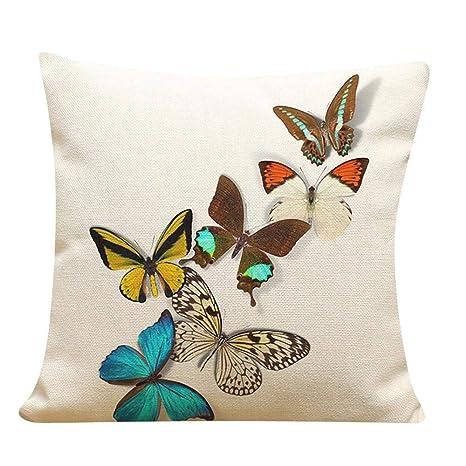 VJGOAL Retro Impresión Mariposa de Lino Suave Cojín Cuadrado Funda de Almohada Sofá Decoración para El Hogar(45_x_45_cm,Multicolor4)