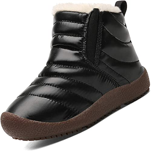 Kids Winter Snow Boots Boys Winter Shoes Anti-Slip Ankle Booties Warm Fur Lined