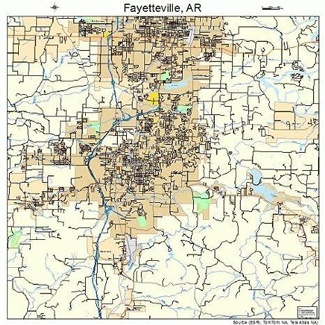 Amazon Com Large Street Road Map Of Fayetteville Arkansas Ar