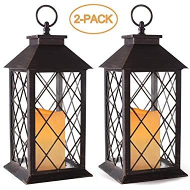 Bright Zeal 2-Pack 14  Vintage Candle Lantern with LED Flickering Candle (Distressed Bronze, 6hr Timer) - Outdoor Hanging Candle Lantern Battery Powered - Tabletop Lantern Decorative - Home Lanterns
