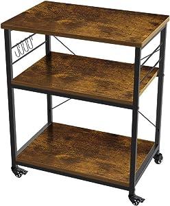 AZ L1 Life Concept 3-Tier Kitchen Rack Utility Microwave Oven Stand Movable Cart Workstation Shelf, Vintage