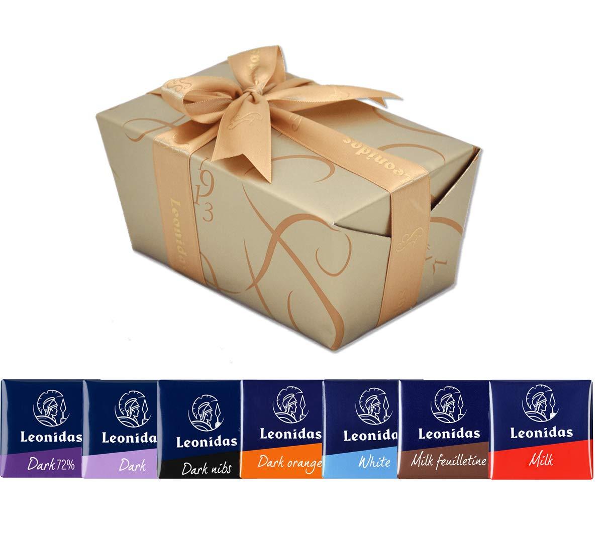 Leonidas Belgian Chocolates: 1 lb Napolitain Sampler Ballotin - Orange, Nibs, Feuilletine, Dark, Milk, and White Chocolate Squares by Leonidas Belgian Chocolates (Image #1)