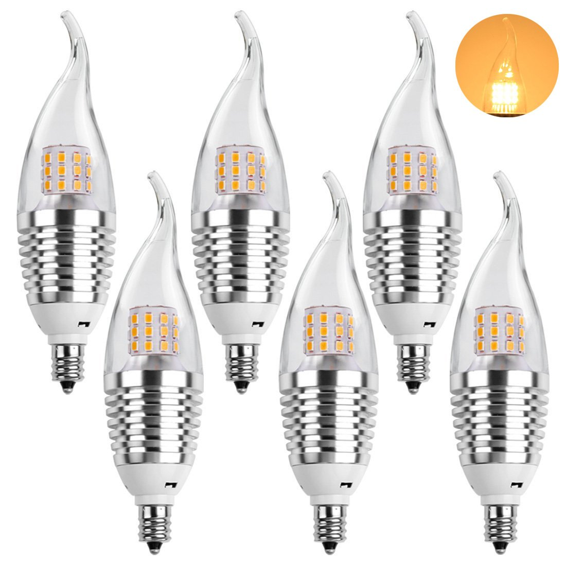 LEDMO E12 LED Candelabra Bulb, 7W E12 Base, Warm White 2800K LED Candle  Bulbs, 60 Watt Incandescent Bulb Equivalent, 630 Lumens LED Bulb Lights, ...