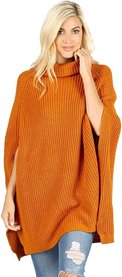 Gihuo Womens Casul Turtleneck Loose Knitting Poncho Pullover Sweater Cloak