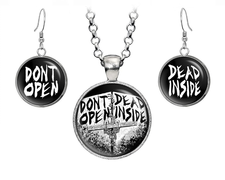 Dont Open Dead Inside Pendant Necklace Walking Earrings Zombie Jewelry Z Nation Zombies Birthday Gift Geek Geeky Gifts