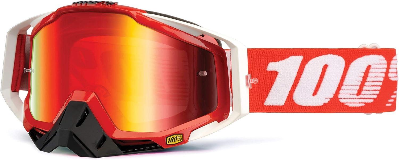 Taglia Unica 100/% Maschera Racecraft Fire Red Multicolore Lente a Specchio Rossa